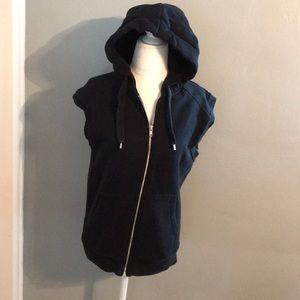 Zip up hoodie vest sleeveless sweatshirt small